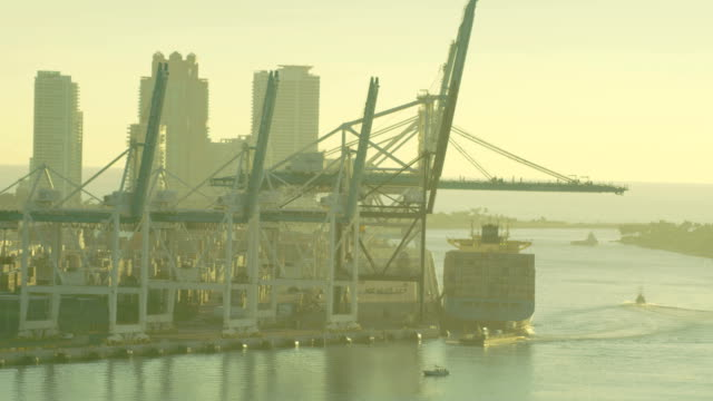 aerial sunrise view global container shipping port miami - biscayne bay stock videos & royalty-free footage