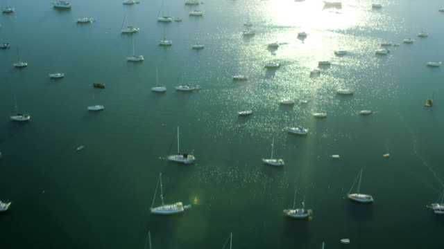 aerial sunrise view hibiscus island luxury yachts miami - biscayne bay stock-videos und b-roll-filmmaterial