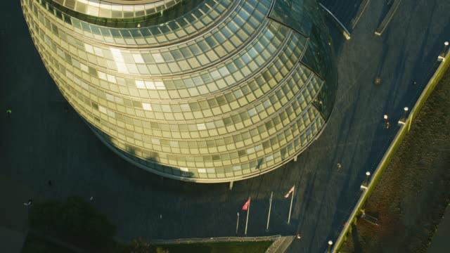aerial sunrise view london city hall england uk - mayor stock videos & royalty-free footage