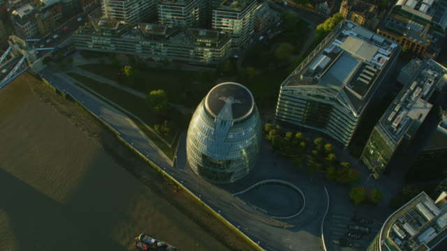 aerial sunrise view london mayor office city hall - mayor stock videos & royalty-free footage