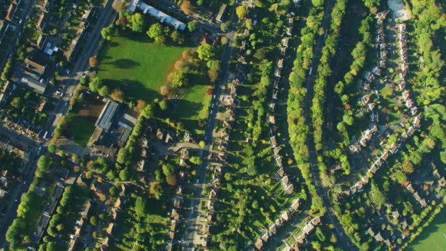 aerial sunrise view london residential community properties england - twilight stock videos & royalty-free footage