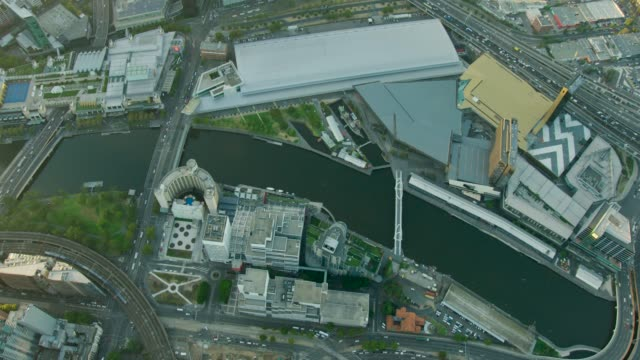 Aerial sunrise view Melbourne Convention Centre Yarra River