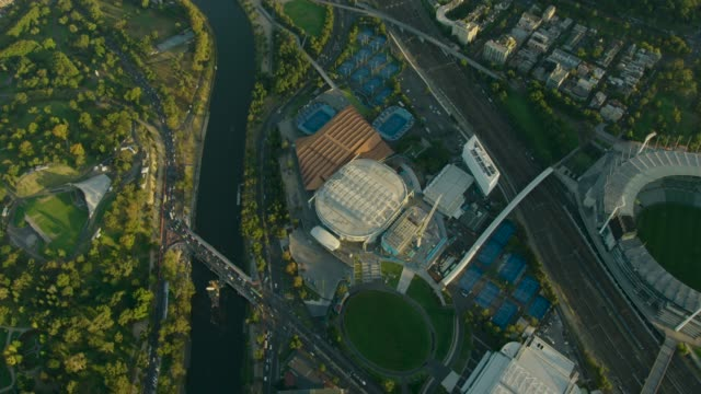 aerial sunrise view melbourne sports and entertainment precinct - tennis stock videos & royalty-free footage