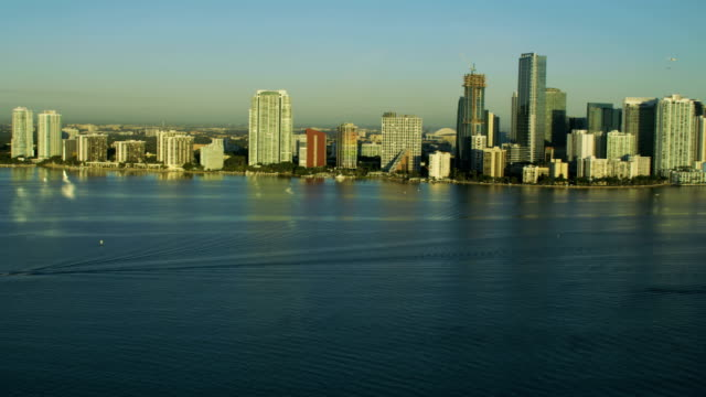 aerial sunrise view miami skyline point view skyscrapers - biscayne bay stock videos & royalty-free footage