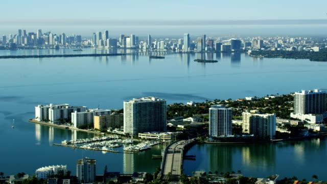 Aerial sunrise view North Bay Island Causeway Miami