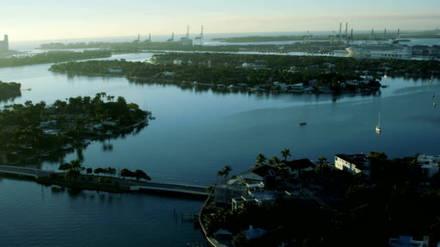 aerial sunrise view of biscayne bay downtown miami - causeway stock videos & royalty-free footage