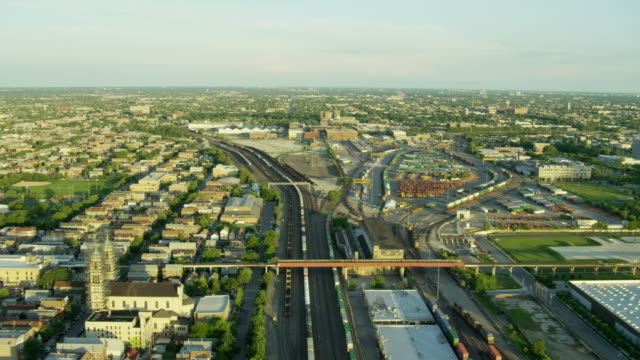 Aerial sunrise view of Chicago freight railway terminal