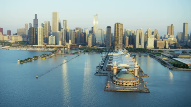 Aerial sunrise view of Chicago Waterfront Navy Pier