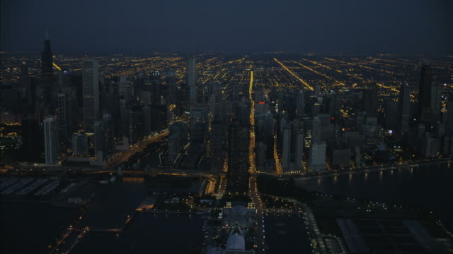 aerial sunrise view of chicago waterfront navy pier - grid stock videos & royalty-free footage