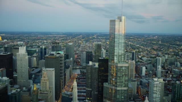 aerial sunrise view of downtown city skyscrapers chicago - chicago river stock videos & royalty-free footage