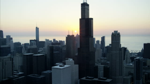 Aerial sunrise view of Downtown city skyscrapers Chicago