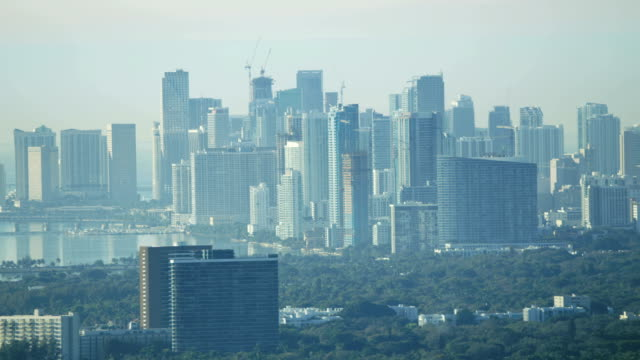 aerial sunrise view of downtown miami financial district - causeway stock videos & royalty-free footage