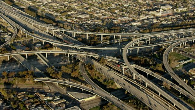 Aerial sunrise view of Los Angeles cityscape California