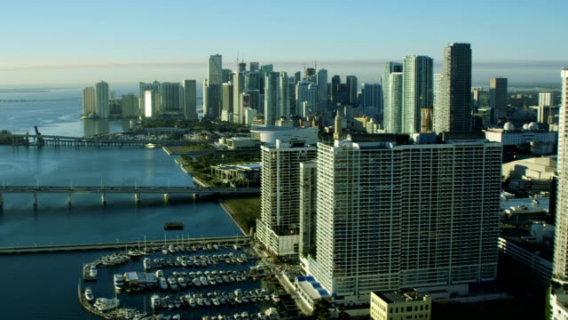 Aerial sunrise view of Miami Skyscrapers Bayside Marketplace