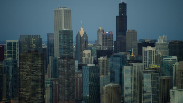 aerial sunrise view of modern city skyscrapers chicago - two prudential plaza stock videos & royalty-free footage