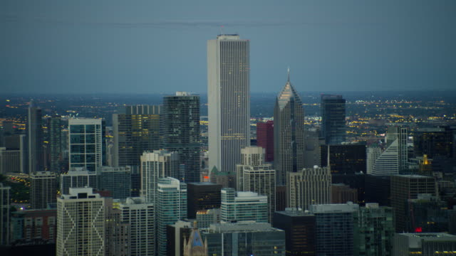 aerial sunrise view of modern skyscraper buildings chicago - two prudential plaza stock videos & royalty-free footage