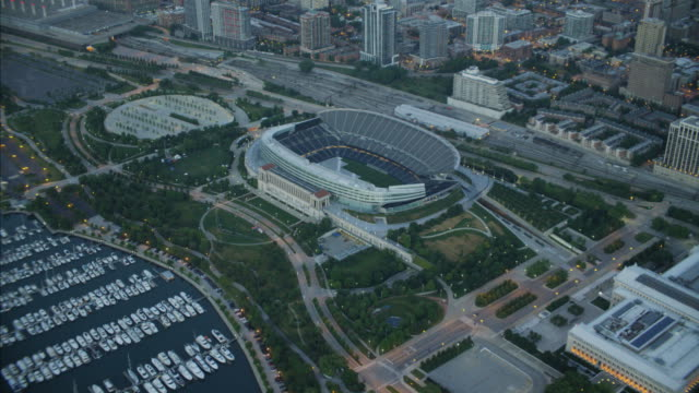 Aerial sunrise view of Soldier Field Stadium Chicago
