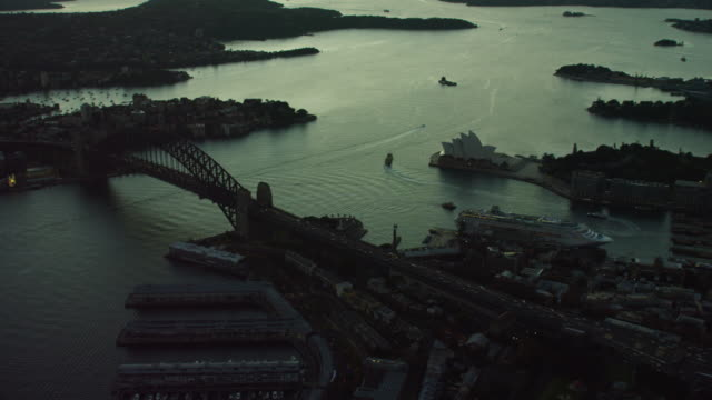 Aerial sunrise view of Sydney Harbor Bridge Australia