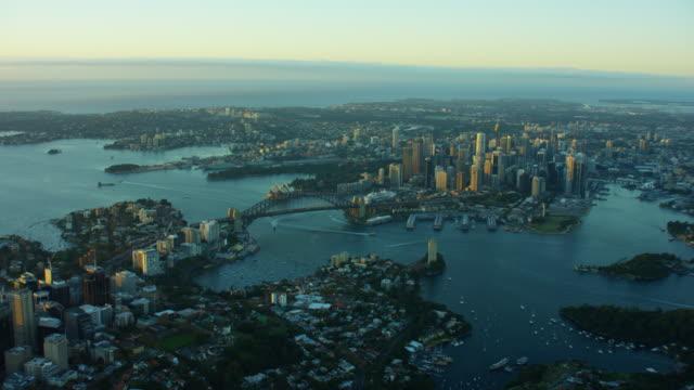 Aerial sunrise view of Sydney Harbor Bridge