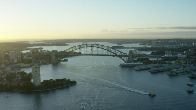 Aerial sunrise view of Sydney Harbour Bridge