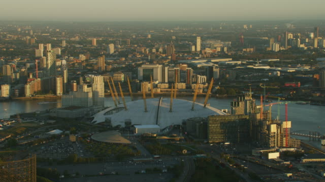 aerial sunrise view over the o2 arena london - the o2 england stock videos & royalty-free footage