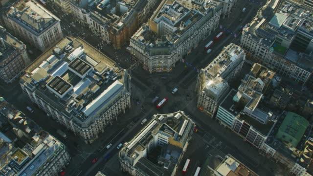 aerial sunrise view oxford circus london england uk - twilight stock videos & royalty-free footage