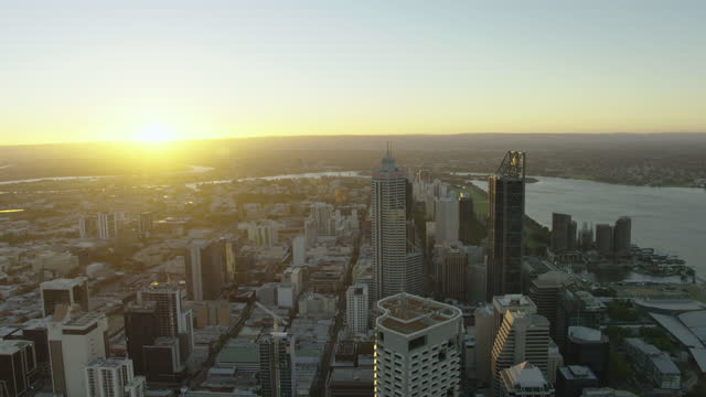 aerial sunrise view perth cityscape with sun flare - business conference stock videos & royalty-free footage