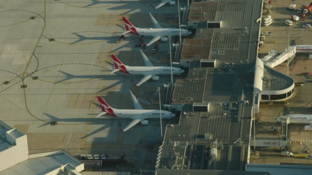 stockvideo's en b-roll-footage met aerial sunrise view qantas aircraft parked melbourne airport - blijf staan
