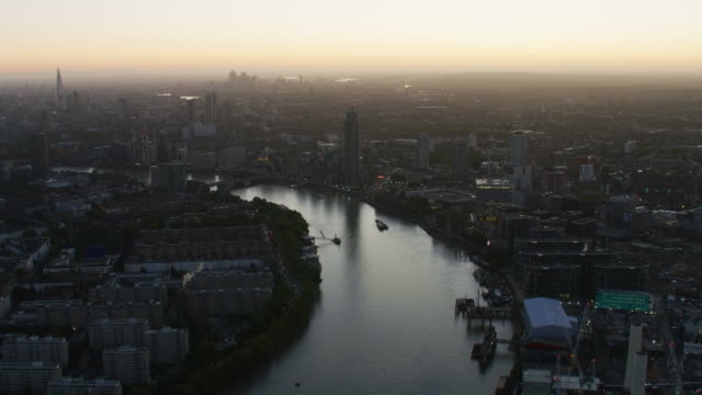 aerial sunrise view river thames city of london - battersea stock videos & royalty-free footage