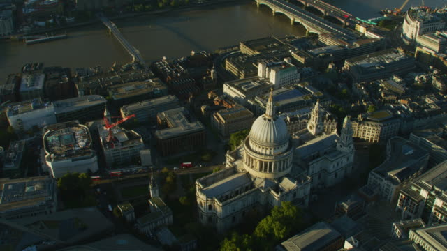 aerial sunrise view st pauls cathedral london skyline - river thames stock videos & royalty-free footage
