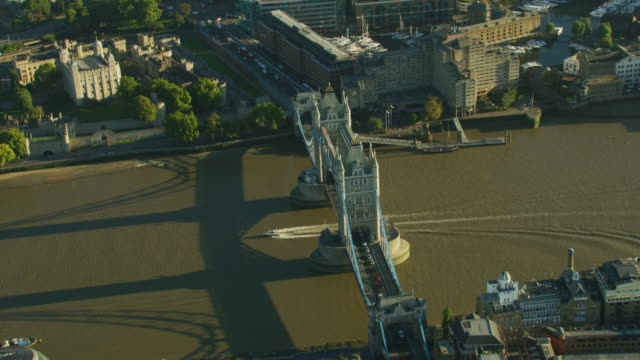 aerial sunrise view tower bridge river thames london - speed boat stock videos & royalty-free footage