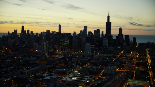 aerial sunrise view willis and sears tower chicago - willis tower stock videos & royalty-free footage