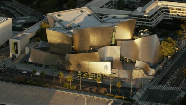 aerial sunrise walt disney concert hall los angeles - auditorium stock videos & royalty-free footage