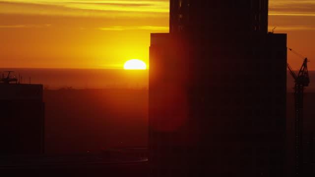 Aerial sunset Bank of America Helipad Los Angeles