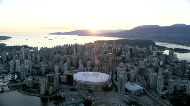 Aerial sunset BC Place Vancouver British Columbia Canada