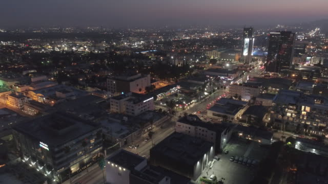 aerial sunset boulevard, hollywood, los angeles - helipad stock videos & royalty-free footage