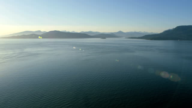 aerial sunset burrard inlet vancouver british columbia canada - inlet stock videos & royalty-free footage