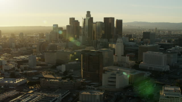 aerial sunset cityscape view of los angeles skyscrapers - financial building stock videos & royalty-free footage