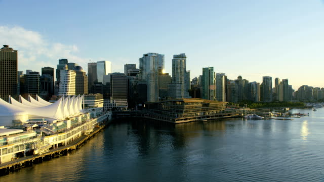 aerial sunset coal harbour vancouver british columbia canada - british columbia stock videos & royalty-free footage