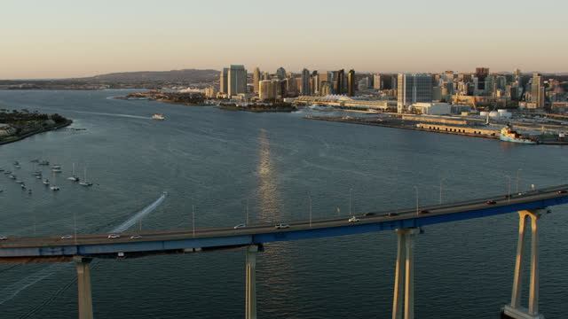aerial sunset convention center view san diego bay - san diego stock videos & royalty-free footage