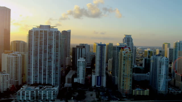 aerial sunset downtown city financial district skyscrapers miami - biscayne bay stock videos & royalty-free footage