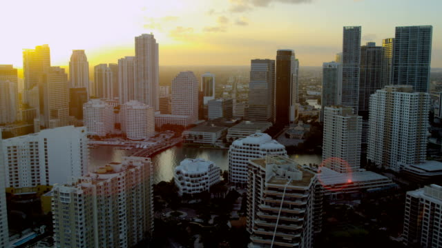 aerial sunset downtown city skyscrapers biscayne bay miami - biscayne bay stock videos & royalty-free footage