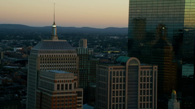 aerial sunset downtown view city skyscrapers boston america - boston massachusetts stock videos & royalty-free footage