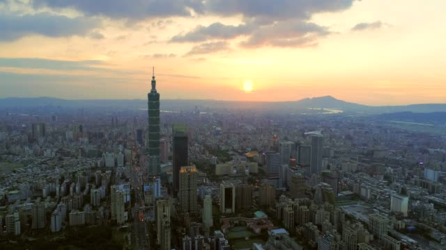 Aerial sunset of cityscape at Taipei center district, Taiwan