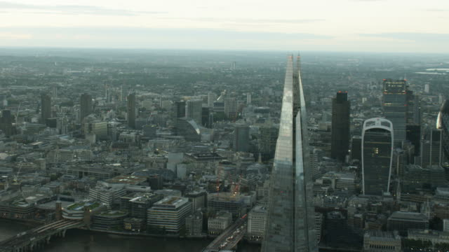 Aerial sunset of the Shard Building London UK