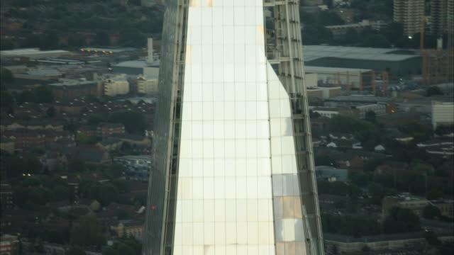 aerial sunset of the shard building london uk - shard london bridge stock videos & royalty-free footage