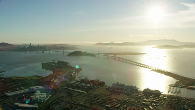 aerial sunset san francisco bay quiet from covid19 - waterfront stock videos & royalty-free footage