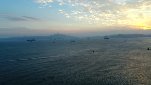 Aerial sunset scenery of xiamen island road