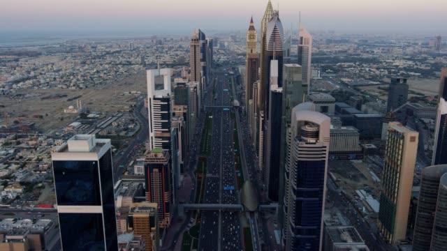 Aerial sunset Sheikh Zayed road city Skyscrapers Dubai