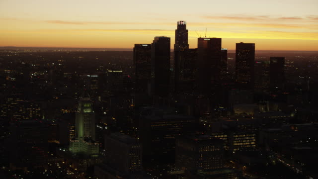 Aerial sunset silhouette view US Bank Los Angeles